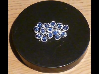 Como hacer un broche con alambre y bolas de cristal BROCHE BLUE