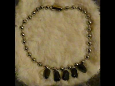 Como hacer un collar con cadena de bolas collar SILVER BLACK