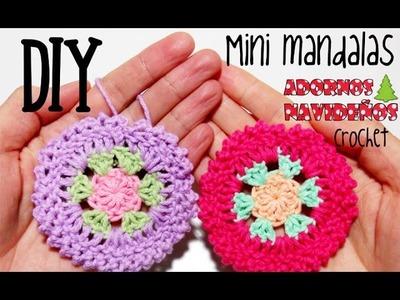 DIY Mini mandalas de crochet.ganchillo adornos de navidad (tutorial)