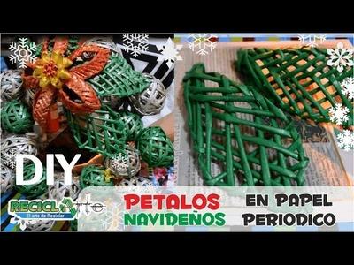 DIY ♻ PETALO TEJIDO EN PAPEL PERIODICO. DIY ♻ PETALO FABRIC ON PERIODIC PAPER