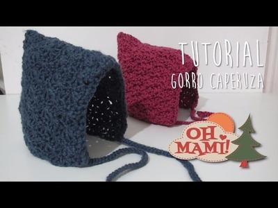 Gorro caperuza a crochet para bebé ( 0 a 3 meses)