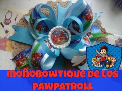 MOÑO AZUL DE PAW PATROLL.PATRULLA CANINA.MOÑO SPIKE.MOÑO BOWTIQUE DOBLE.TUTORIALES DE MOÑOS