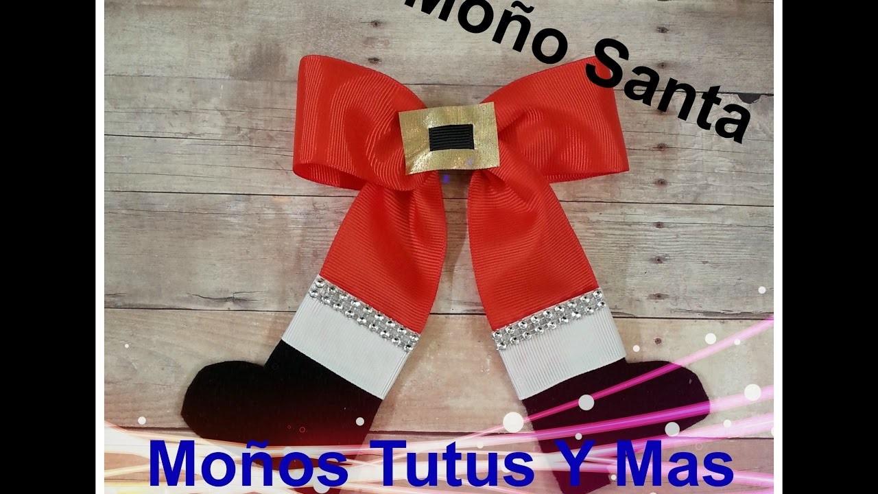 MOñO SANTA CLAUS Paso a Paso SANTA HAIR BOW Tutorial DIY Step by Step PAP How To