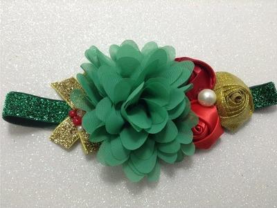 Tiara de flores en colores navideños VIDEO No.  384