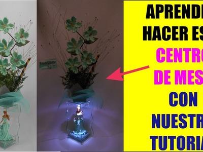 Tutorial 3 Como Hacer Centro de Mesa Arreglo Floral Luz Led 15 años  Quinceañera El Regalo Especial