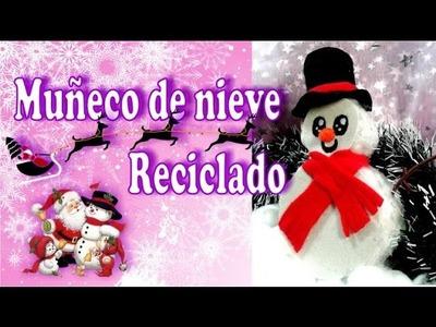 Adorno Navideño reciclado: Muñeco de Nieve