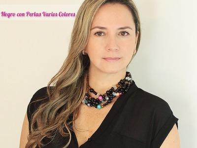 Aprende Cómo Hacer un Collar Negro con Perlas de colores - Variedades y Fantasías Carol