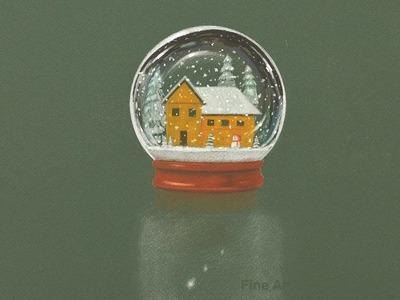 Cómo dibujar una bola de cristal navideña - Esfera con nieve