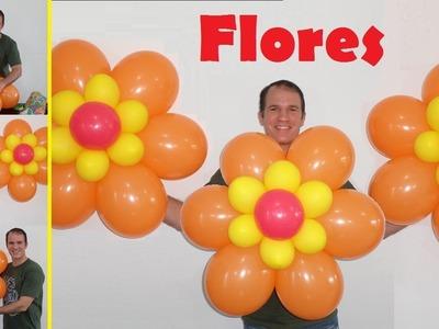 Como hacer flores con globos - decoración para cumpleaños - flor con globos redondos