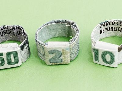 Como hacer un anillo con un billete │ Origami