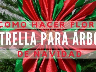 Flor estrella para decorar el árbol de navidad Tutorial 23
