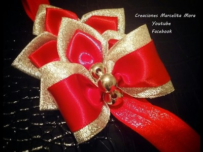 Headband Bow Tie Ribbon  Red and Silver- Tiara en Liston con moño en Rojo y Plateado.