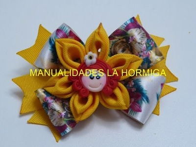 Par de moños flores dobles faciles, How To Make A Hair Bow