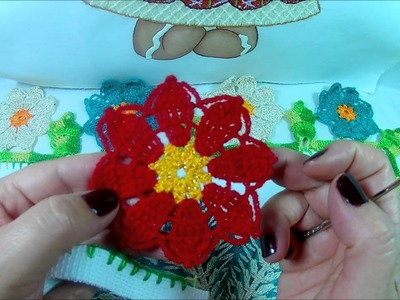 [Puntilla] Flor de Nochebuena- FÁCIL!   #BordadosConIsa