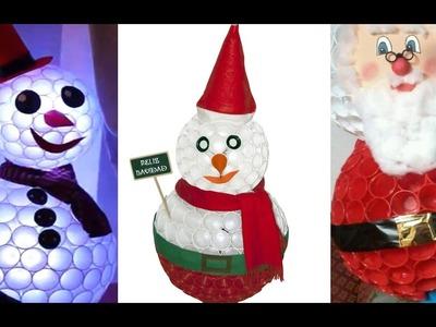 +30 Ideas Muñeco de Nieve con Vasos Desechables o de Plástico - Decoración Navideña
