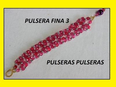 COMO HACER UNA PULSERA FINA 3. mostacilla checa
