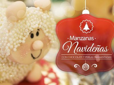 Manzanas navideñas decoradas con chocolate y perlas diamantadas (Borreguitos)