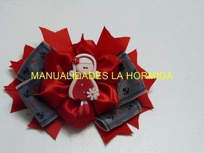 Moño flor elegante facil liston raso, Moños dobles faciles, video 562