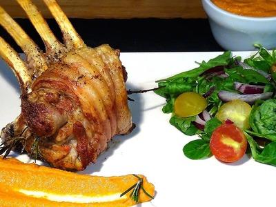 Receta Carré de cordero al horno con salsa romesco - Recetas de cocina, paso a paso, tutorial