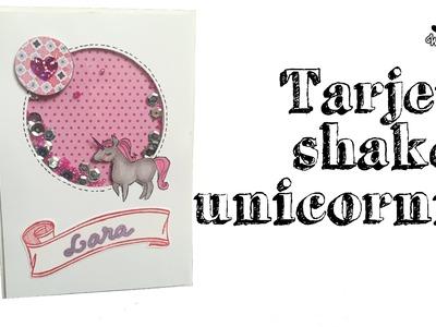 Tarjeta musical con unicornios (shaker card)