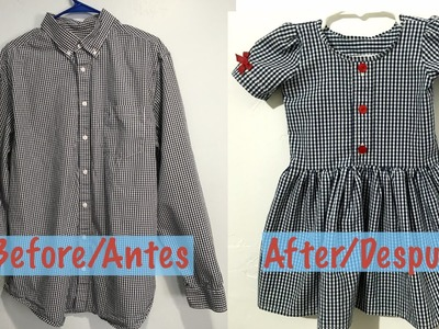 Camisa de Hombre a Vestidito de Niña.Men's Shirt into a Little Dress