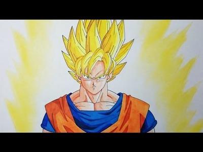 Cómo dibujar a Goku SSJ paso a paso - How to draw Super Saiyan Goku step by step