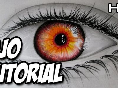 Cómo dibujar un ojo de color rojo, cómo dibujar un ojo realista con lápices de colores paso a paso