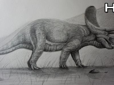 Cómo Dibujar un Triceratops Realista a Lápiz Paso a Paso - Cómo Dibujar Dinosaurios