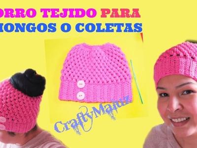 CROCHET | GORRO TEJIDO PARA CHONGOS O COLETAS  | gorros a crochet paso a paso - para principiantas