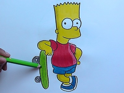 Dibujando a Bart y su Patineta (Los Simpson) - Drawing Bart and his Skateboard