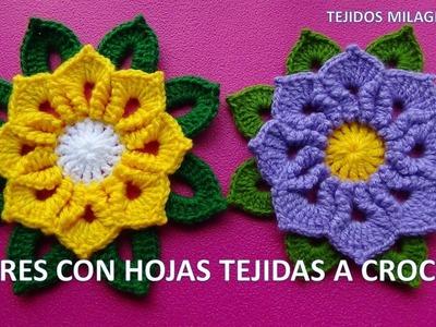 Flores Tejidas a Crochet o Ganchillo paso a paso con Hojas para Caminos de Mesa