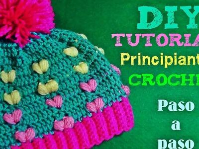Gorrito Tejido con Corazones Puff a Crochet - Para Principiantes - Muuuy Facil!!!!