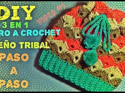Gorro Tejido a Crochet  Diseño Tribal - 3 en 1 - Aprende a Tejerlo
