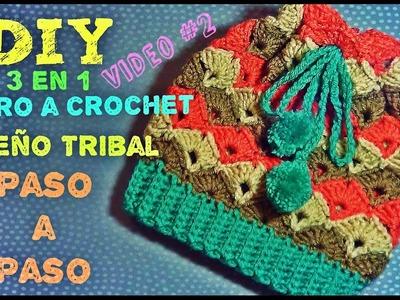 Gorro Tejido a Crochet Diseño Tribal - 3 en 1 - Aprende a Tejerlo VIDEO#2