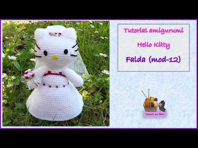 Tutorial amigurumi Hello Kitty novia - Falda (mod-12)