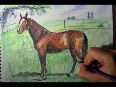 Cómo dibujar un caballo con lápices de colores