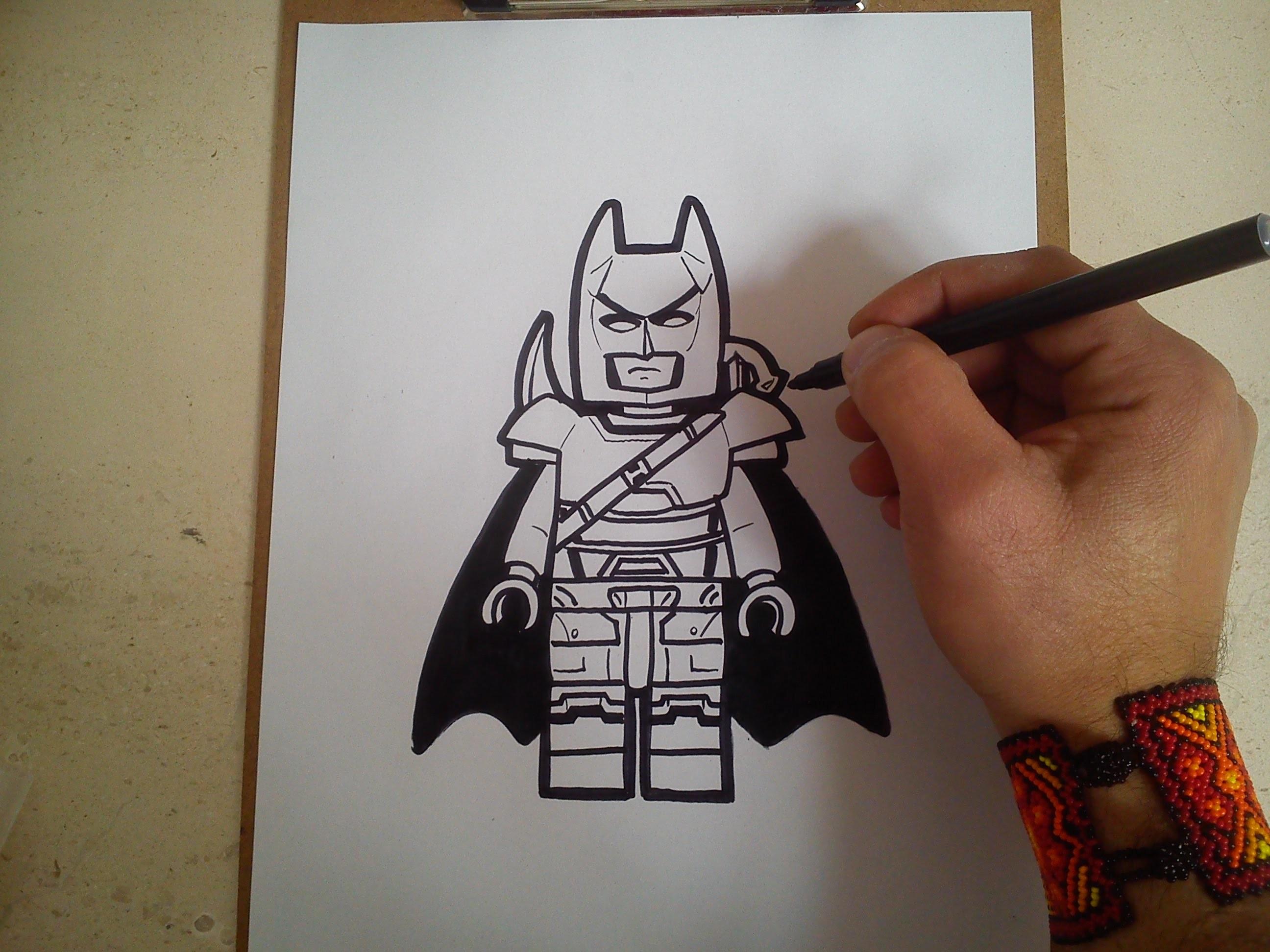 Como Dibujar A Batman Armadura Lego. How To Draw Batman Vs