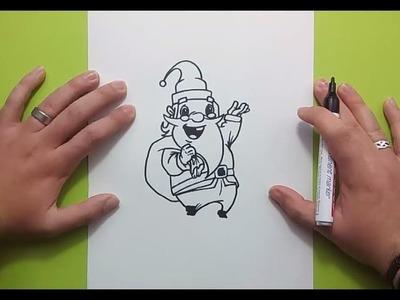 Como dibujar a papa noel paso a paso 10 | How to draw Santa Claus 10