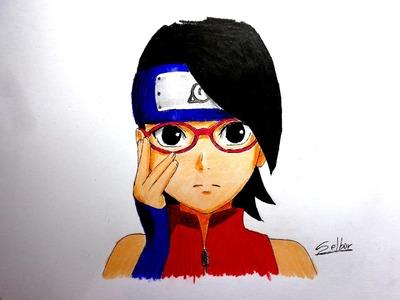 Cómo dibujar a Sarada - Naruto (Paso a paso) | Selbor