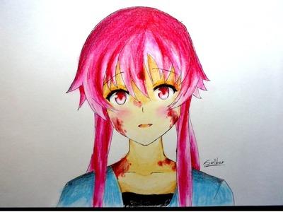 Cómo dibujar a Yuno Gasai (Mirai Nikki) | Selbor