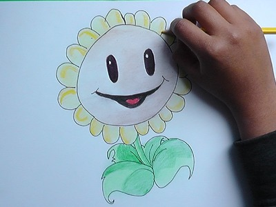 Como dibujar al Girasol (Plantas vs Zombies) - How to draw the Sunflower