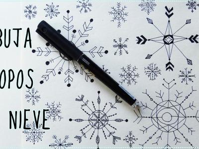 CÓMO DIBUJAR COPOS DE NIEVE | Papel decorado para Navidad