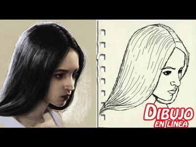 Como dibujar la cara agachada en tres cuartos mujer