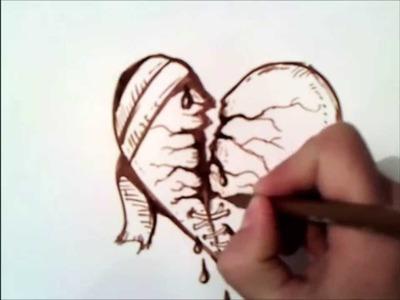 Como dibujar un corazon roto paso a paso | como dibujar un corazon roto | facil