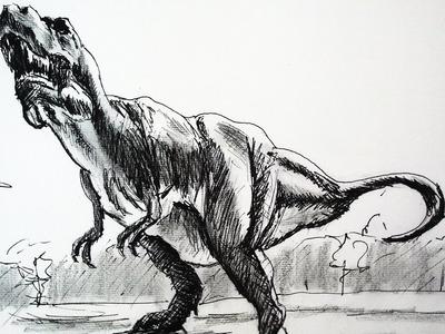 Como dibujar un dinosaurio con lapiz y tinta paso a paso   Dibujar un T Rex video clase completa
