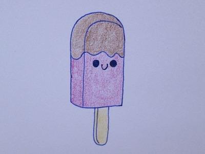 Cómo dibujar un helado kawaii