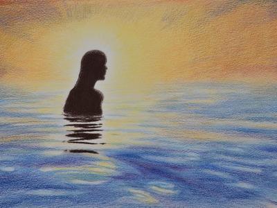 Cómo dibujar un mar con lápices de colores- Arte Divierte.