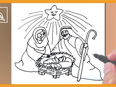 Cómo Dibujar Un Nacimiento De Navidad - How To Draw a Christmas Crib