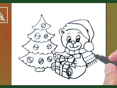 Cómo Dibujar Un Osito De Navidad - Drawing a Christmas Teddy Bear