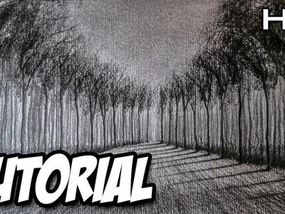 Cómo dibujar un paisaje a lápiz paso a paso en perspectiva, dibujo de un paisaje con profundidad